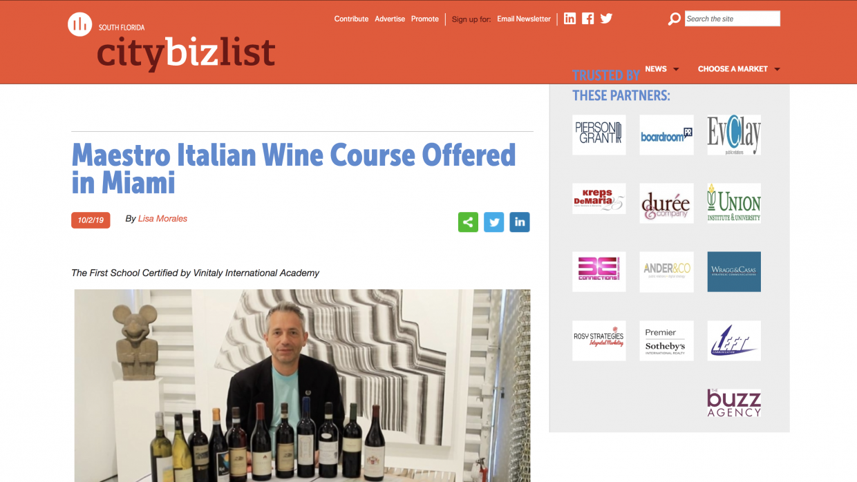 Maestro Italian Wine Course Offered in Miami